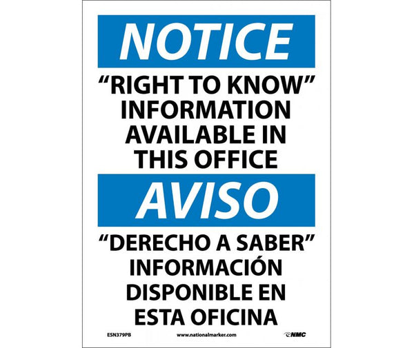 ESN379 National Marker Bilingual English and Spanish Signs Notice Right To Know Information Available In This Office