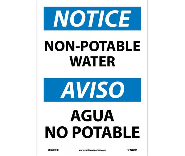 ESN380 National Marker Bilingual English and Spanish Signs Notice Non-Potable Water