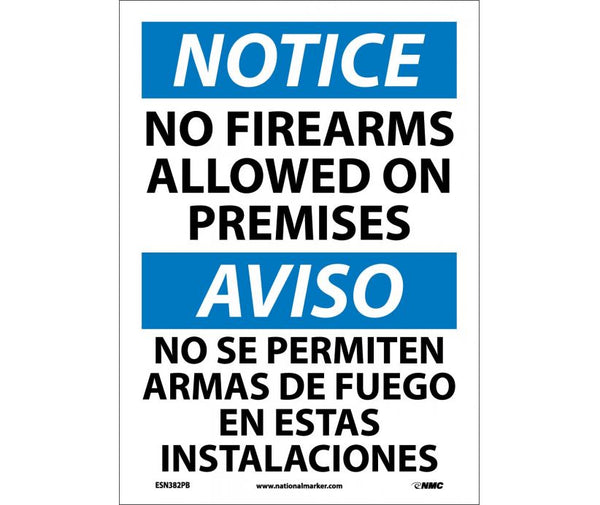 ESN382 National Marker Bilingual English and Spanish Signs Notice No Firearms Allowed On Premises