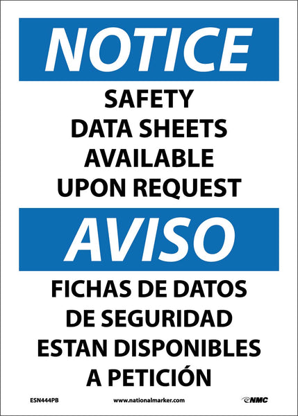 ESN444 National Marker Bilingual English and Spanish Signs Notice Safety Data Sheets Available Upon Request