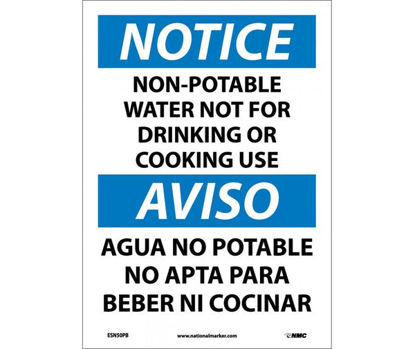 ESN50 National Marker Bilingual English and Spanish Signs Notice Non-Potable Water Not For Drinking Or Cooking Use