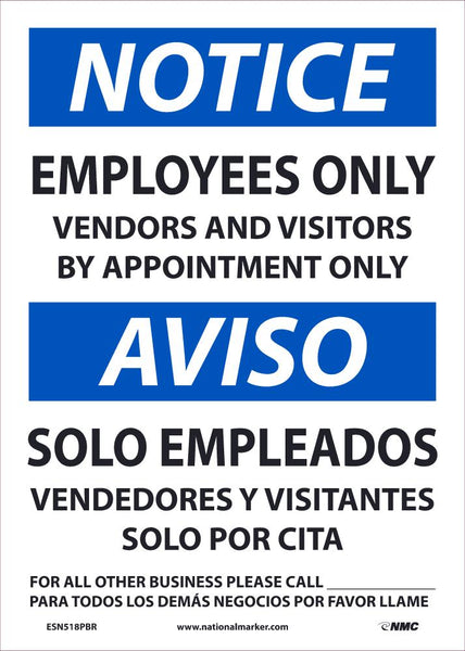 Notice Employees Only Vendors and Visitors By Appointment Only Bilingual Safety Signs | ESN518PBR | 14
