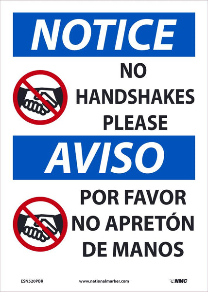 Notice No Handshakes Please Spanish Safety Signs | ESN520PBR | 14