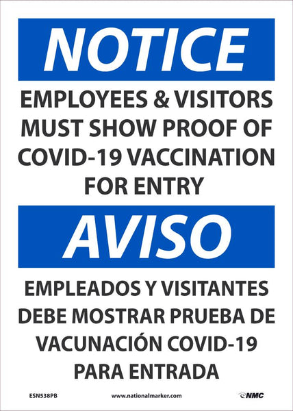 Notice Employees and Visitors Show Proof Of Vaccination Bilingual Safety Signs | ESN538PB | 14