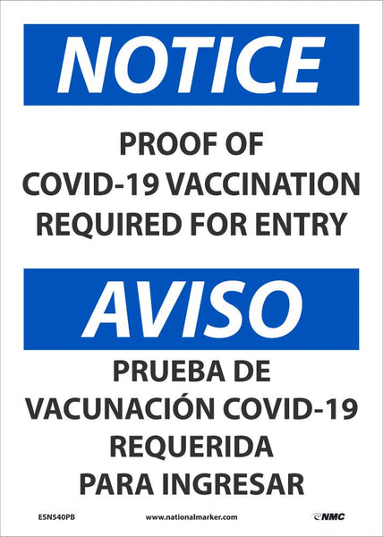 Notice Proof Of Covid-19 Vaccination Required For Entry Bilingual Safety Signs | ESN540PB | 14