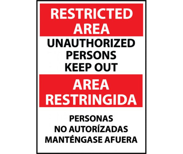 ESRA29 National Marker Bilingual English and Spanish Signs Restricted Area Unauthorized Persons Keep Out