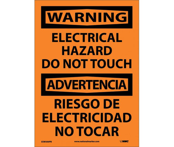 ESW500 National Marker Bilingual English and Spanish Signs Waring Electrical Hazard Do Not Touch