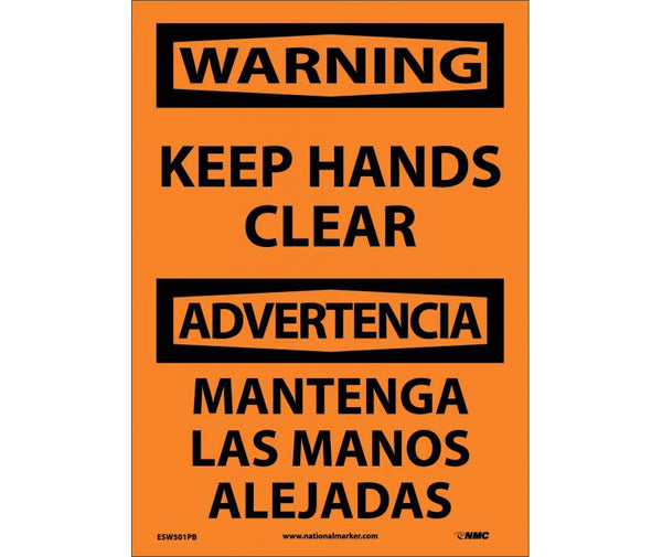ESW501 National Marker Bilingual English and Spanish Signs Warning Keep Hands Clear