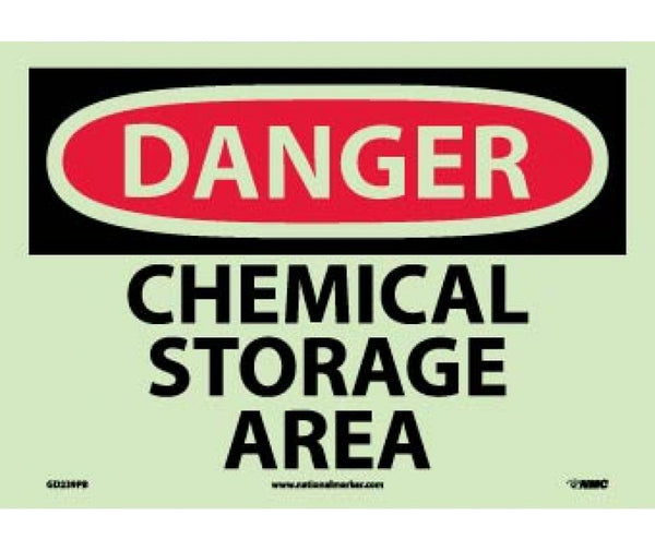 GD239 National Marker Chemical And Hazardous Material Glow In The Dark Safety Signs Danger Chemical Storage