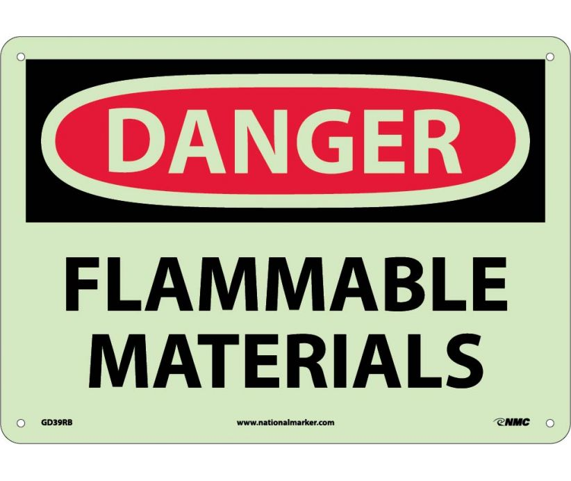Flammable Materials: OSHA Danger Header Signs (GD39) By National Marker Company