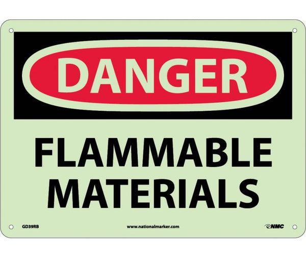 Danger Flammable Materials Glow In The Dark Safety Signs | GD39