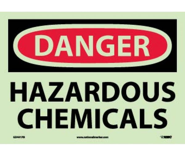 GD441 National Marker Chemical And Hazardous Material Glow In The Dark Safety Signs Danger Hazardous Chemicals