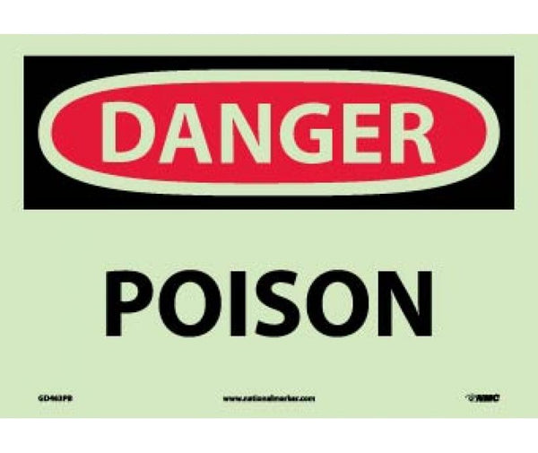 GD463 National Marker Chemical And Hazardous Material Glow In The Dark Safety Signs Danger Poison