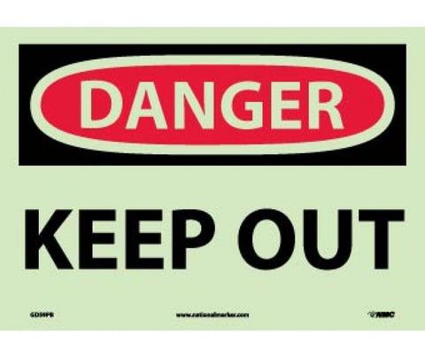 "GD59PB National Marker Keep Out Danger Header Sign 10"" x 14"" .010 6 Hour Glow Polyester"