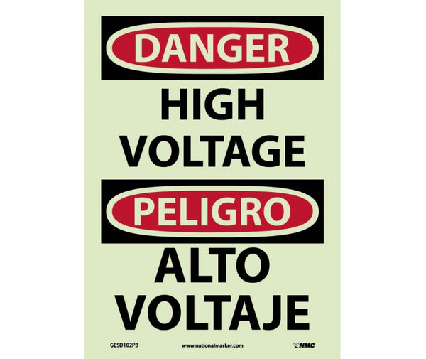 GESD102 National Marker Bilingual English and Spanish Signs High Voltage Glow In The Dark