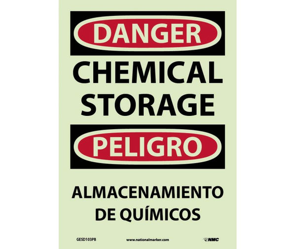 GESD103 National Marker Bilingual English and Spanish Signs Chemical Storage Glow In The Dark