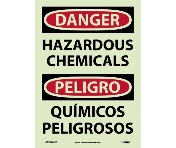 GESD104 National Marker Bilingual English and Spanish Signs Hazardous Chemicals Glow In The Dark