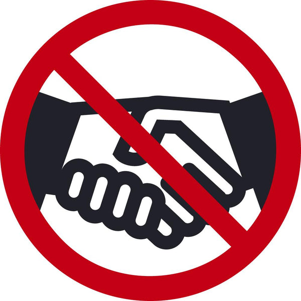 No Handshake Symbol Safety Labels | Different SIzes and Materials