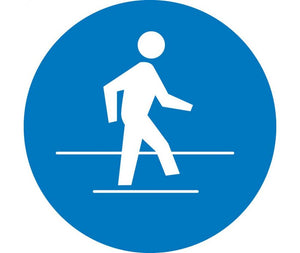 LABEL, GRAPHIC FOR USE PEDESTRIAN ROUTE, 4IN DIA, PS VINYL