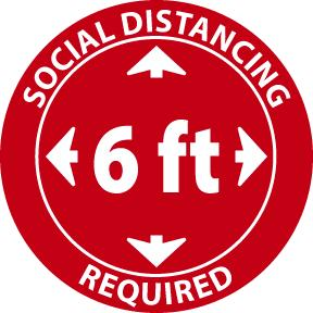 Social Distancing 6 Ft Required Safety Labels | Different SIzes and Materials