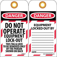 TAGS, LOCKOUT, DANGER DO NOT OPERATE EQUIPMENT LOCK-OUT. . ., 6X3, UNRIP VINYL   GROMMET PACK OF 10