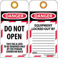 TAGS, DANGER, DO NOT OPEN, 6X3, SYNTHETIC PAPER, 25/PK (HOLE)