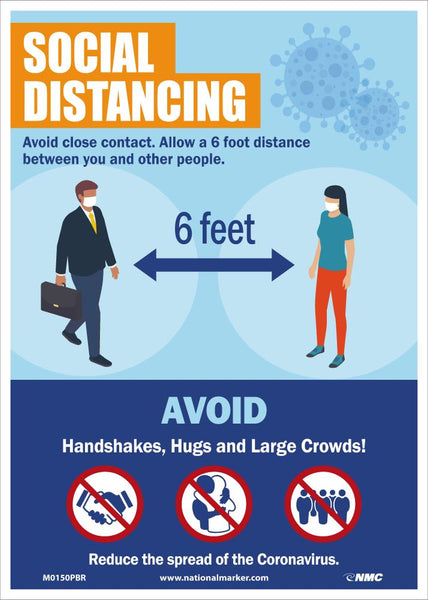 Social Distancing Avoid Close Contact Safety Signs | M0150PBR | 14