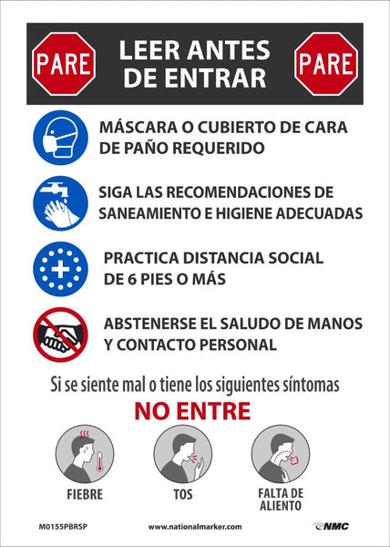 Stop Read Before Entering Spanish Safety Signs | M0155PBRSP | 14