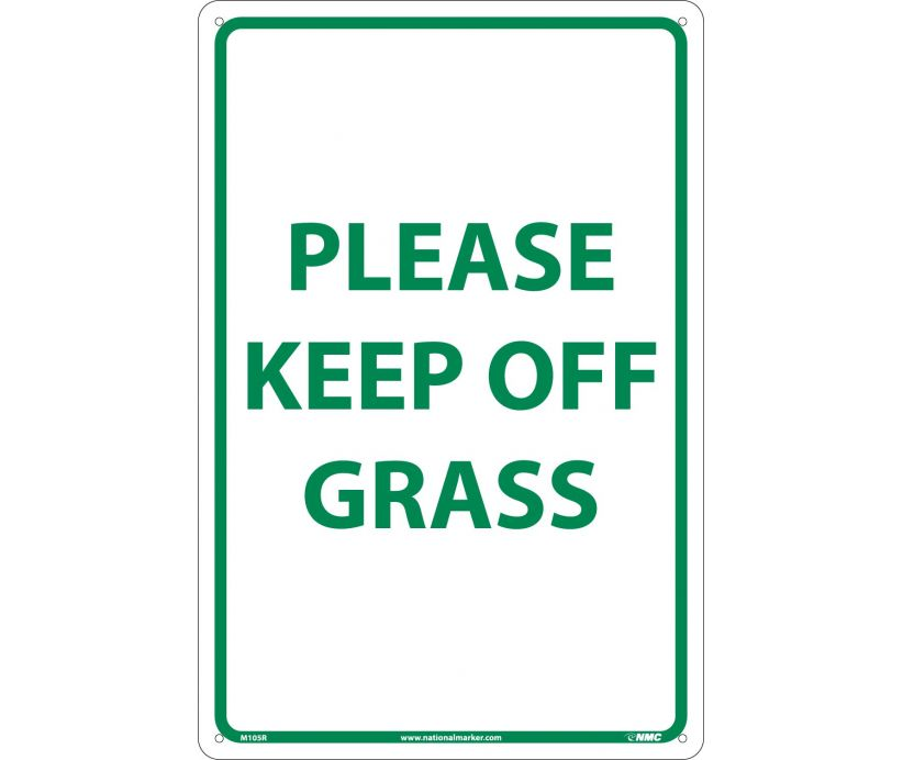 "M105R National Marker Please Keep Off Grass No Header Sign 18"" x 12"" .050 Rigid Plastic"