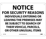 "M111RC National Marker Notice For Security Reasons Indivduals Subject To Search No Header Sign 14"" x 20"" .050 Rigid Plastic"