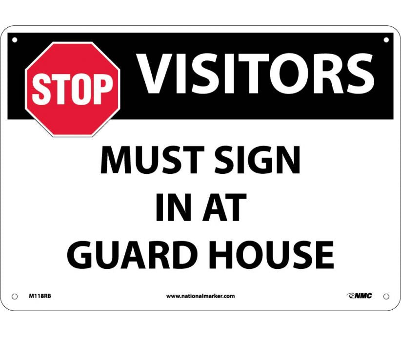"M118RB National Marker Stop Visitors Must Sign In At Guard House No Header Sign 10"" x 14"".004 Adhesive Backed Vinyl"