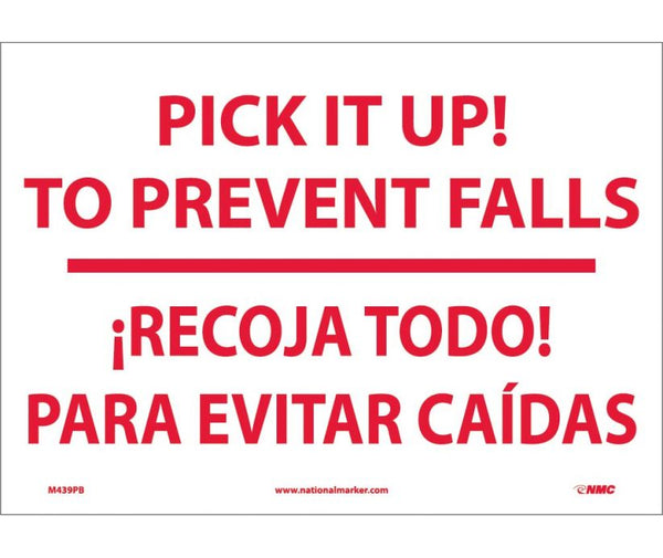 M439 National Marker Bilingual English and Spanish Signs Pick It Up! To Prevent Falls