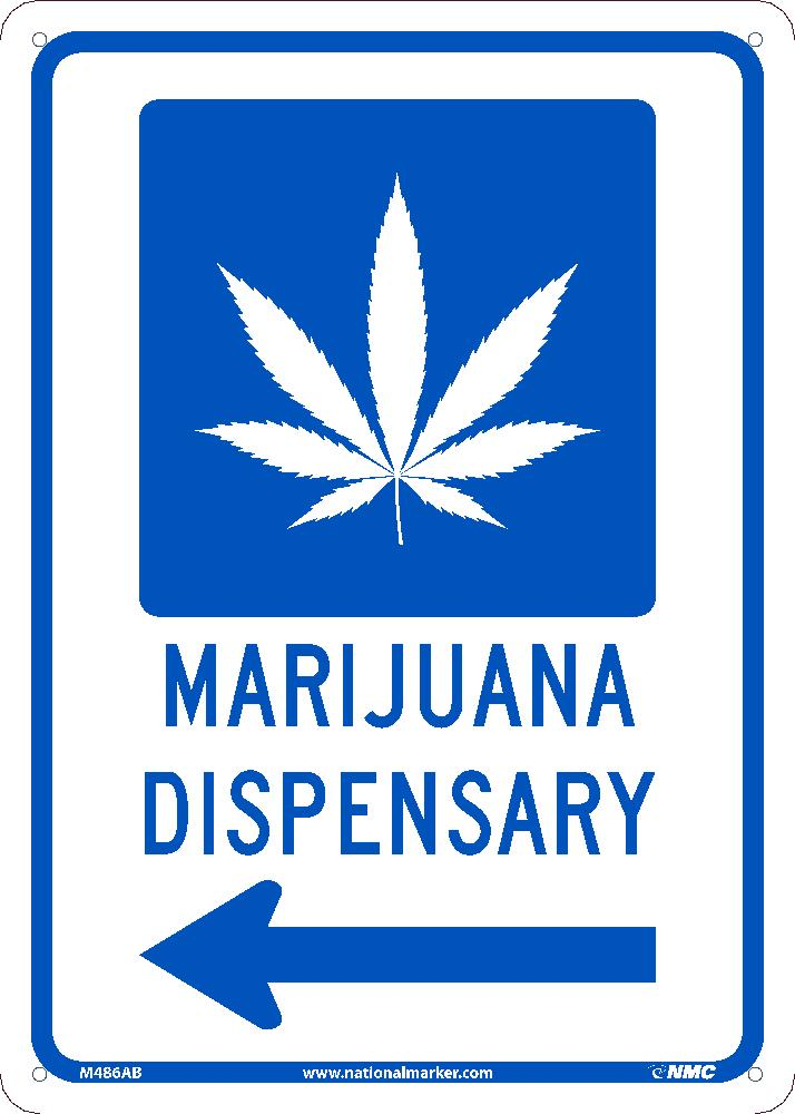 MARIJUANA DISPENSARY LEFT ARROW SIGN, 14X10, .040 ALUM