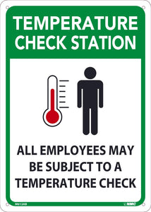 "Temperature Check Station All Employees Are Required To Check Their Temperature Safety Signs | M612AB | 14"" x 10"" 