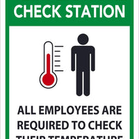 "Temperature Check Station All Employees Are Required To Check Their Temperature Safety Signs | M612PB | 14"" x 10"" 