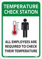 "Temperature Check Station All Employees Are Required To Check Their Temperature Safety Signs | M612RB | 14"" x 10"" 