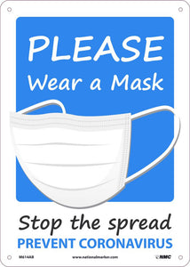 "Please Wear A Mask Stop The Spread Safety Signs | M614AB | 14"" x 10"" 