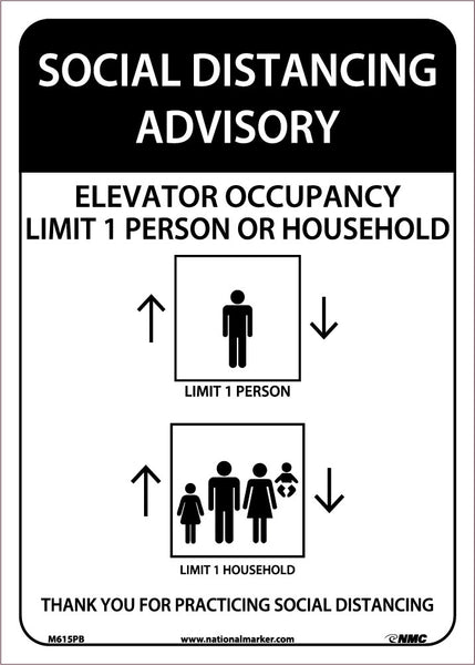 Social Distancing Advisory Elevator Occupancy Safety Signs | M615PB | 14