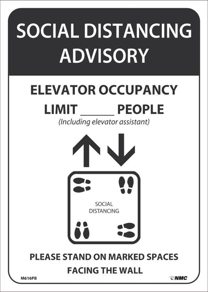 Social Distancing Advisory Elevator Occupancy Safety Signs | M616PB | 14