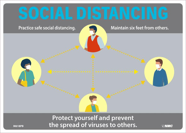 Social Distancing Maintain Six Feet From Others Safety Signs | M618PB | 10