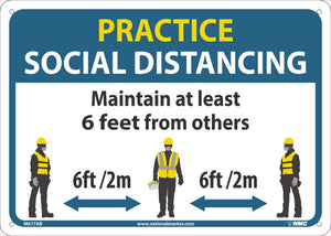 "Practice Social Distancing Maintain Adleast 6 Feet From Others Safety Signs | M619AB | 10"" x 14"" 