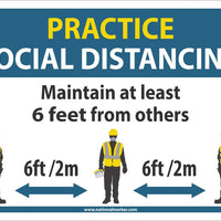 "Practice Social Distancing Maintain Adleast 6 Feet From Others Safety Signs | M619PB | 10"" x 14"" 