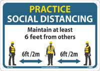 "Practice Social Distancing Maintain Adleast 6 Feet From Others Safety Signs | M619RB | 10"" x 14"" 