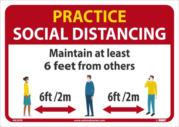 Practice Social Distancing Maintain Adleast 6 Feet From Others Safety Signs | M620PB | 10