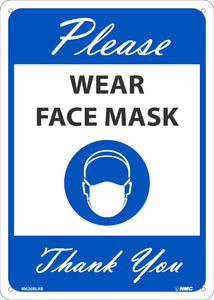 "Please Wear Face Mask Thank You Safety Signs | M626BLAB | .040 Aluminum | 10"" x 14"""