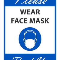"Please Wear Face Mask Thank You Safety Signs | M626BLA | .040 Aluminum | 7"" x 10"""