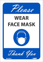"Please Wear Face Mask Thank You Safety Signs | M626BLP | .0045 Pressure Sensitive Vinyl | 7"" x 10"""