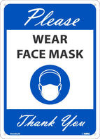"Please Wear Face Mask Thank You Safety Signs | M626BLRB | .050 Rigid Plastic | 10"" x 14"""