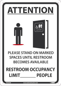 "Attention Please Stand On Marked Spaces Until Restroom Becomes Available Safety Signs | M628AB | 14"" x 10"" 