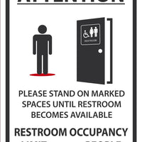 "Attention Please Stand On Marked Spaces Until Restroom Becomes Available Safety Signs | M628RB | 14"" x 10"" 